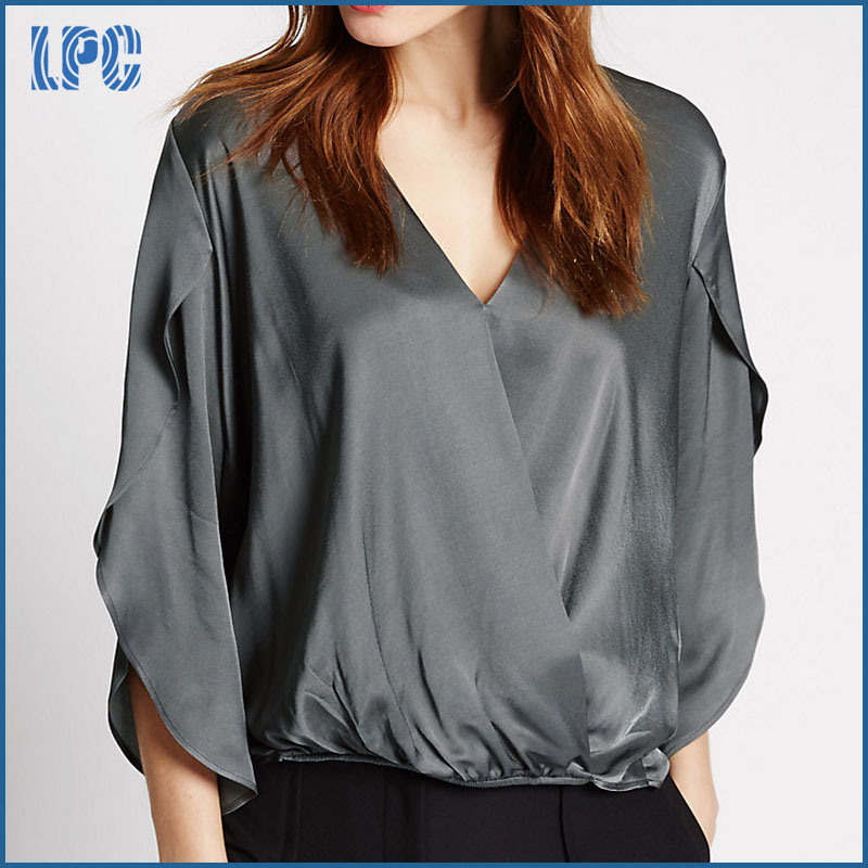 High Quality Wrap V-Neck Split Sleeve Blouse