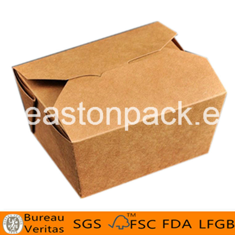 Disposable Kraft Printed Food Packaging Take out Square Noodle Box