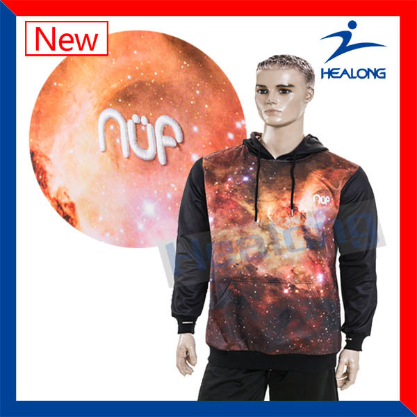 Healong Chins Wholesale Sportwear Any Logo Sublimation Windbreak College Hoodie