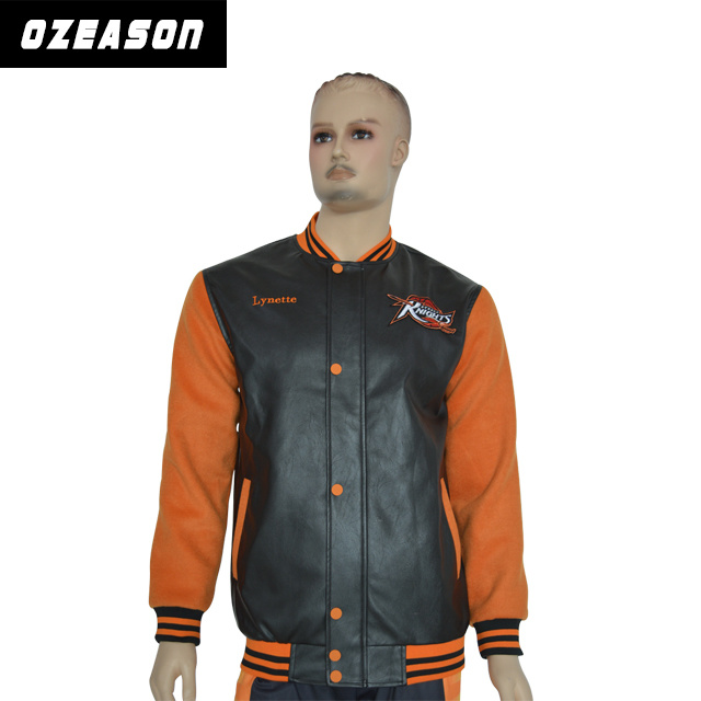 Wholesale Fashion Customized High Quality Embroidery Men′s Leather Jackets (TJ001)