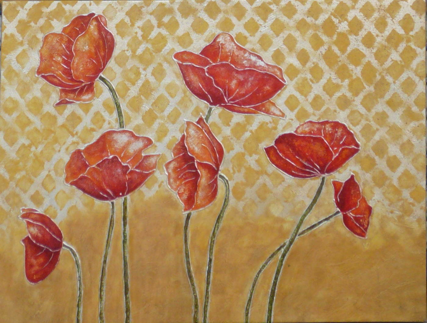 Hand Made Flower Oil Painting on Canvas (001)