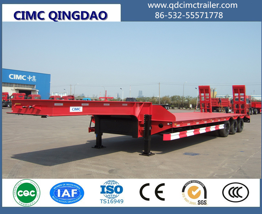 Cimc 3 Fuwa Axles 80 Tons Flat Lowbed Semi Truck Trailer