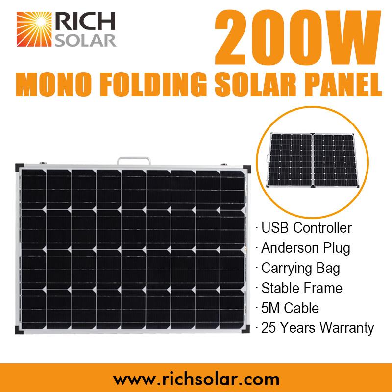 200W 12V Monocrystalline Folding Solar Panel Kit