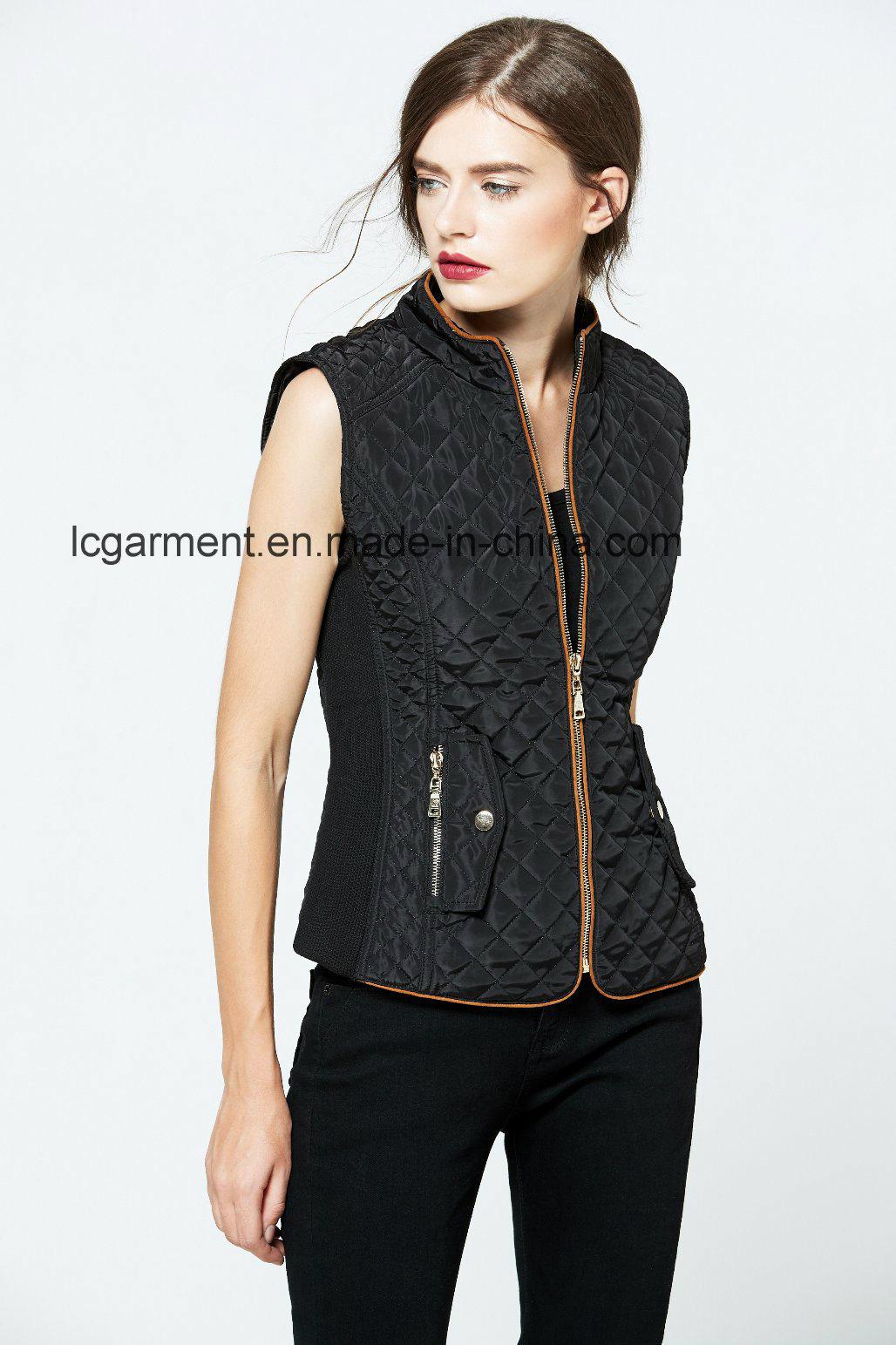 Gold Supplier 100% Polyester Fabrics Winter Zipper Waistcoat for Girls