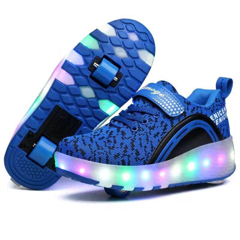 LED Flash High Heel Kids Roller Light up Skate Shoes