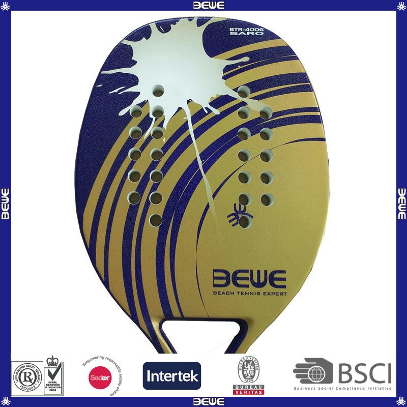New Arrival Golden Fiberglass Beach Tennis Racket Btr-4006 Xpro
