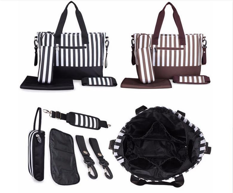 Waterproof Mummy Tote Stripe Handbag Baby Diaper Nappy Changing Bag Set