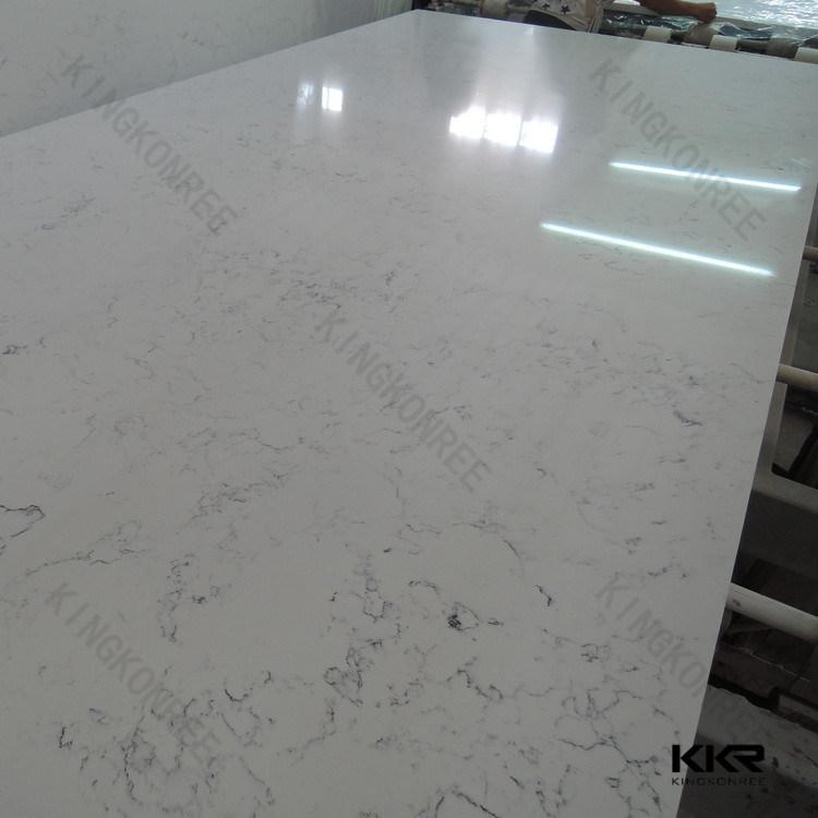 3/4 Carrara White Artificial Quartz Stone Slab for Floor Tile (Q1706122)