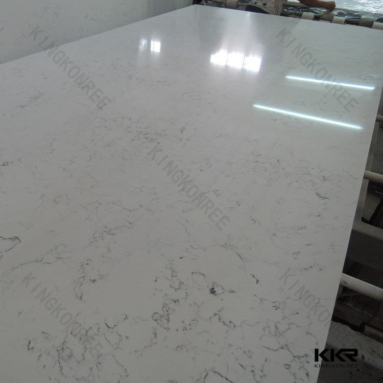 3/4 Carrara White Artificial Quartz Stone Slab for Floor Tile (Q170810)