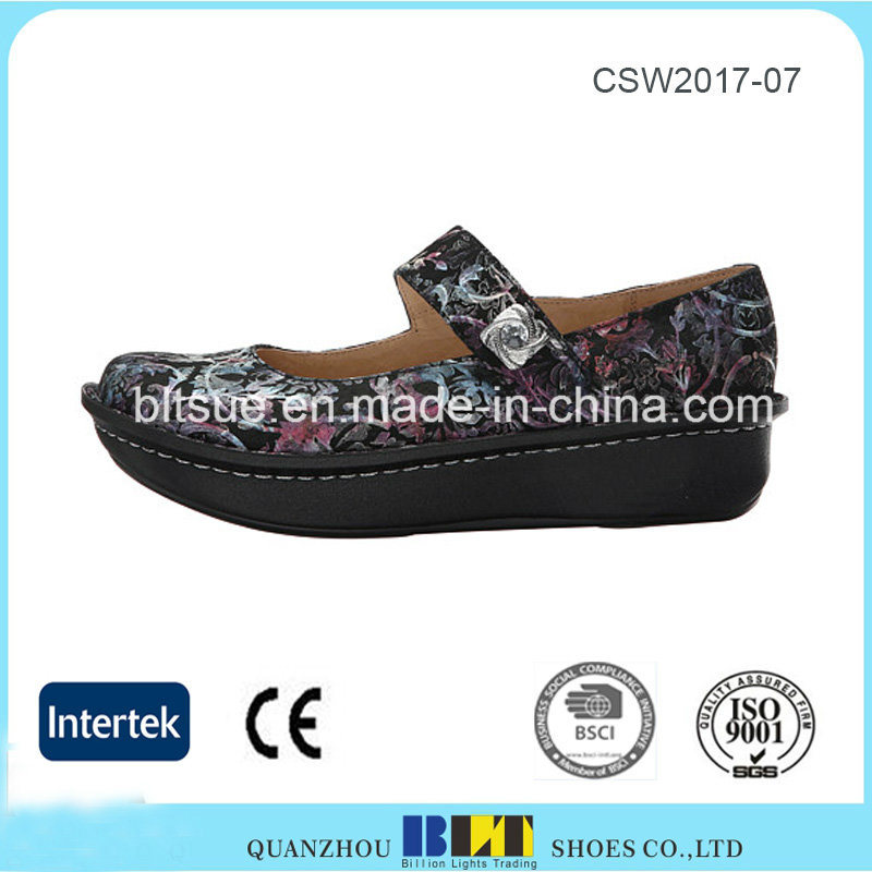 Hot Sale Waterproof Platform Clogs Leather Shoes for Women