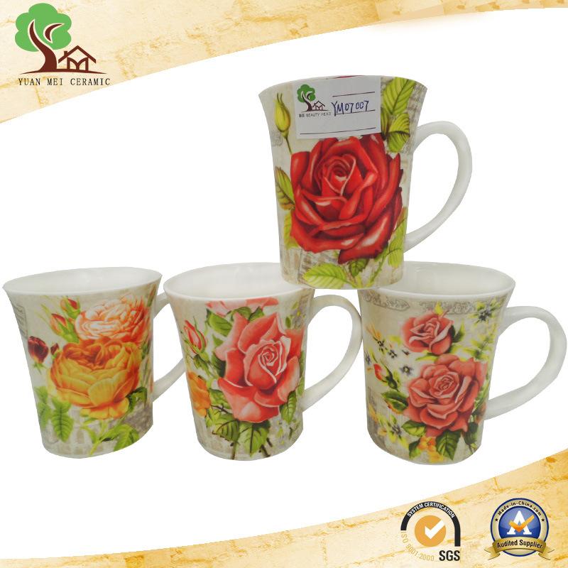 Yuanmei Sourcing Ceramic New Bone China Round Decal Flower Coffee Mug