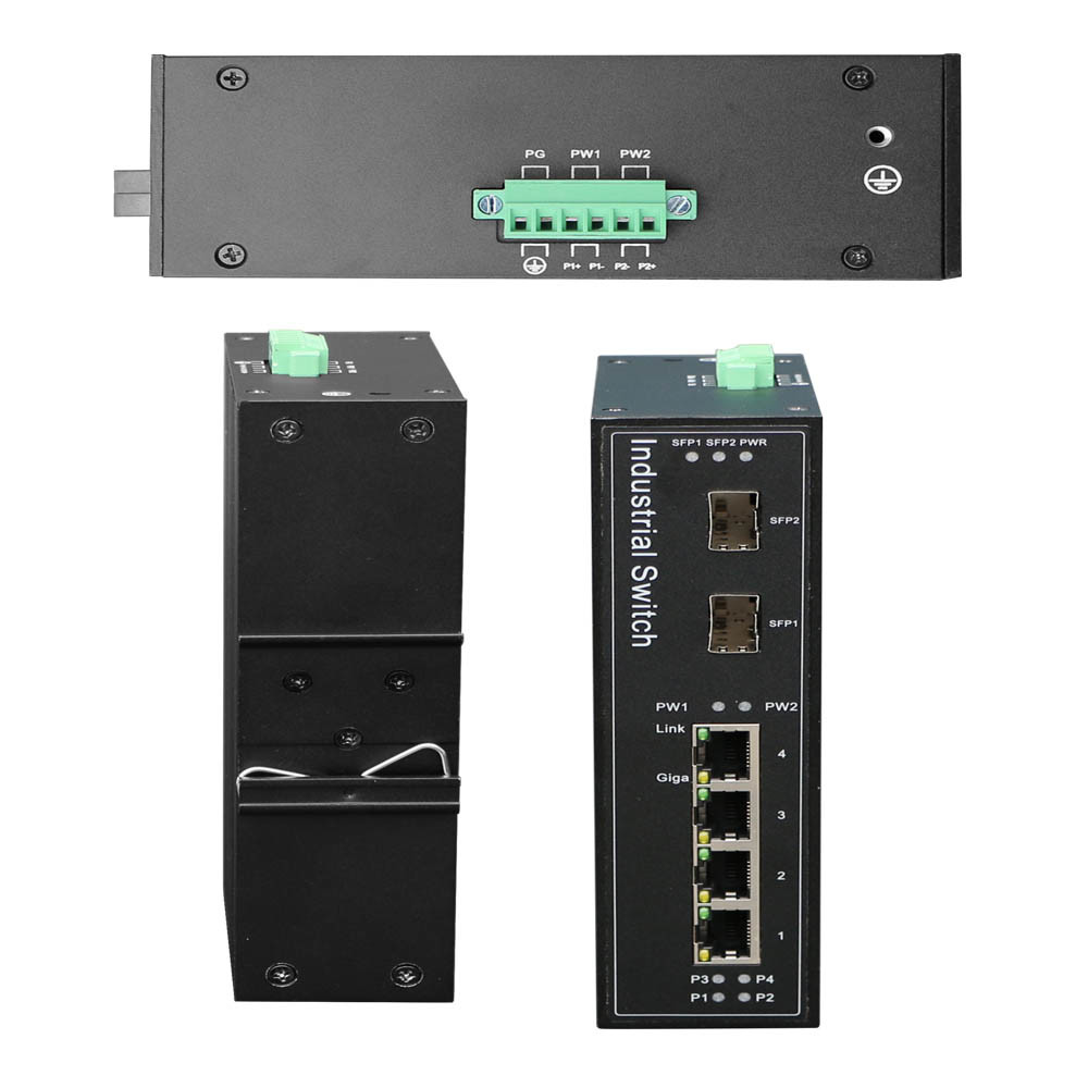 Industrial Switch 4ge+2SFP Full Gigabit Poe Optional