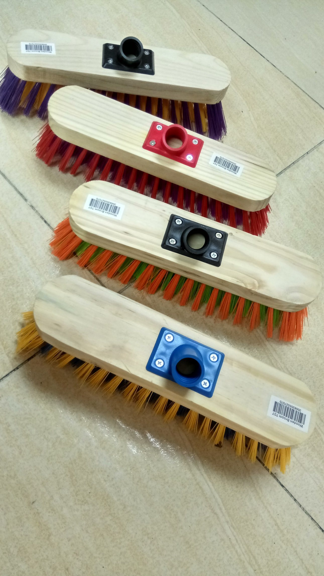 Wooden Broom with Colorful Bristle
