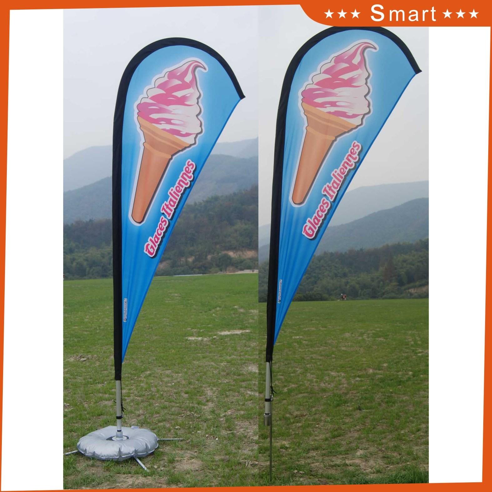 Custom Outdoor Advertising Teardrop Feather Flying Beach Flag