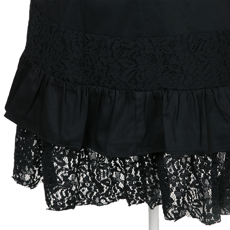 Gothic Steampunk Gypsy Clothing Black Lace Skirt Wholesale Manufacturer