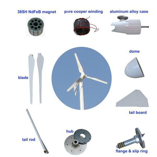 1500W 12V 24V 48V 96V Horizontal Axis Wind Power Turbine Generator