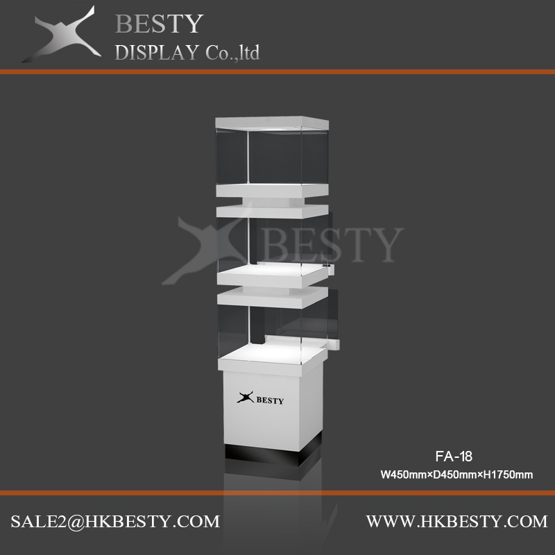 4 Sides Jewelry Display Tower Showcase with LED Light