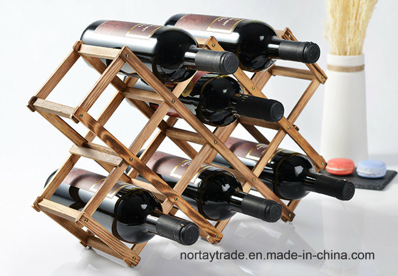 10-Bottle 8 Stains Pine Wood Folded Wine Racks