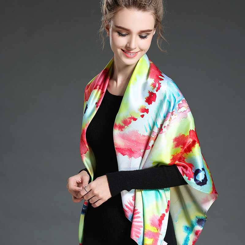 Female Digital Printing Silk Scarf Shawl