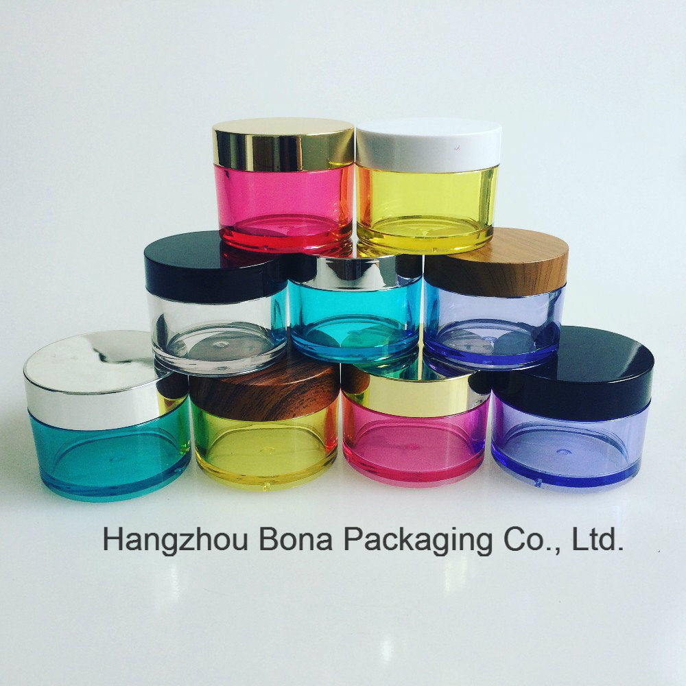 Colorful PETG Cosmetic Jar with Bamboo Lids Cream Jar Plastic Jar
