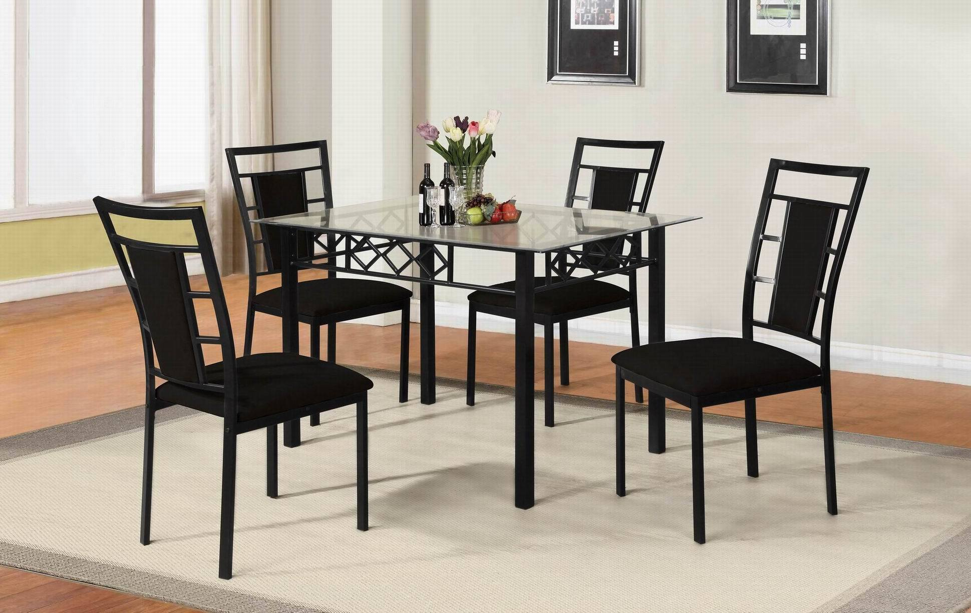 Metal Furniture Dining Set with Glass Top