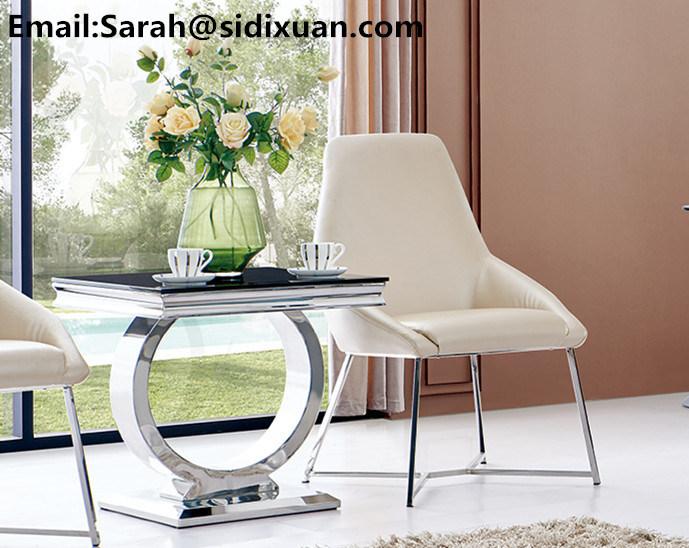 Stainless Steel Modern Italian Living Room Sofa Table / Circle Leg Glass Sofa Table