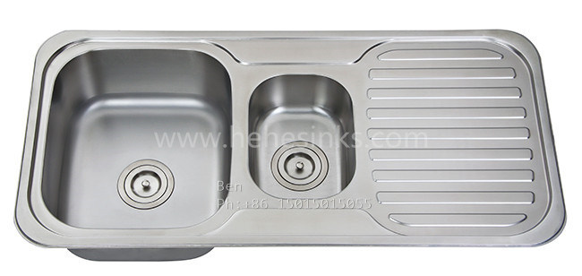 Kitchen Sink with Drain Board, Stainless Steel Sink, Sinks