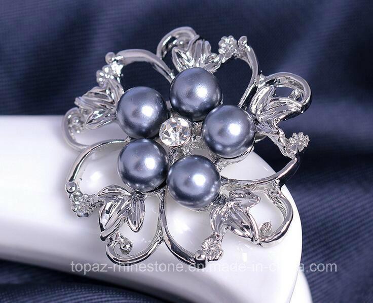 Luxury Fashion Jewelry Brooch Flower Alloy Pearl Brooch (TB-021 flower)