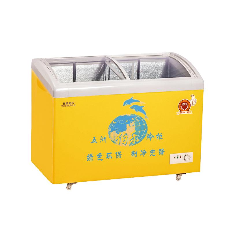 Curve Sliding Toughened Coating Glass Door (for strengthen heat reflex) Freezer
