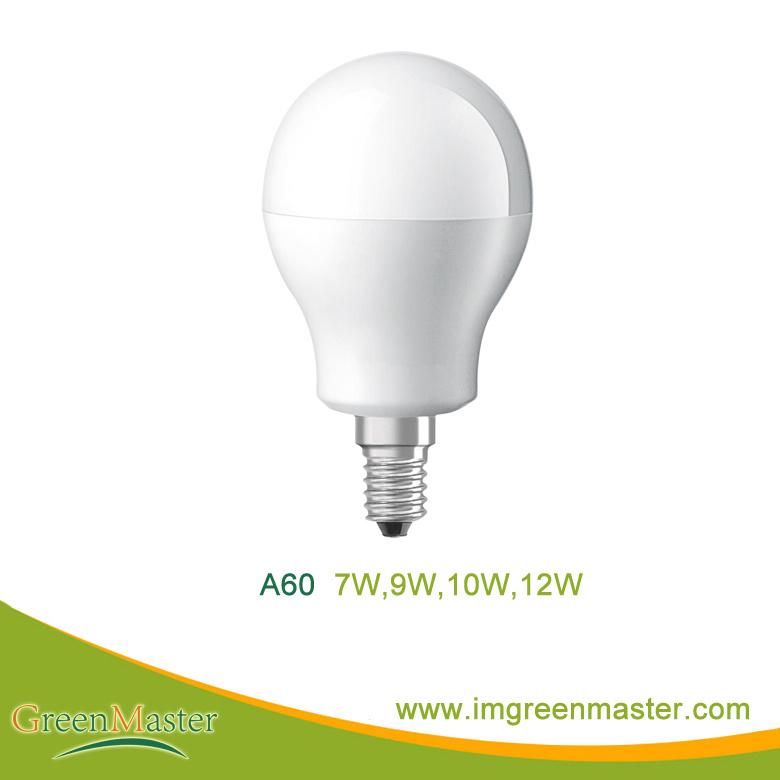 A60 7W 9W 10W 12W Plastic Aluminum LED Bulb