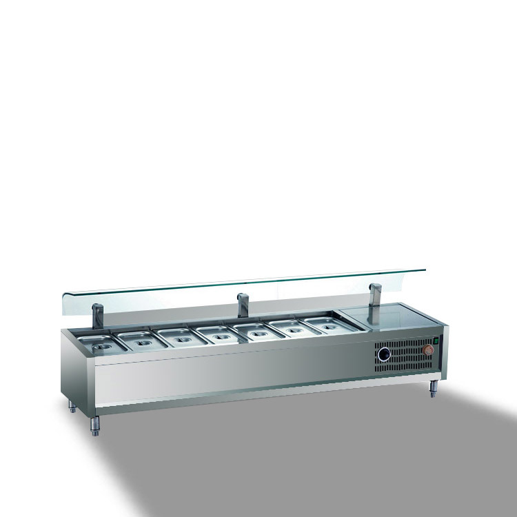 Stainless Steel Warming Food Showcase, Hot Food Warmer Showcase (TZR1200)