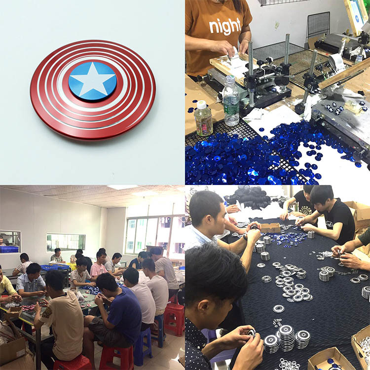 Fashion Captain America Aluminum Fidget Spinners Hand Bearing Spinners Toys