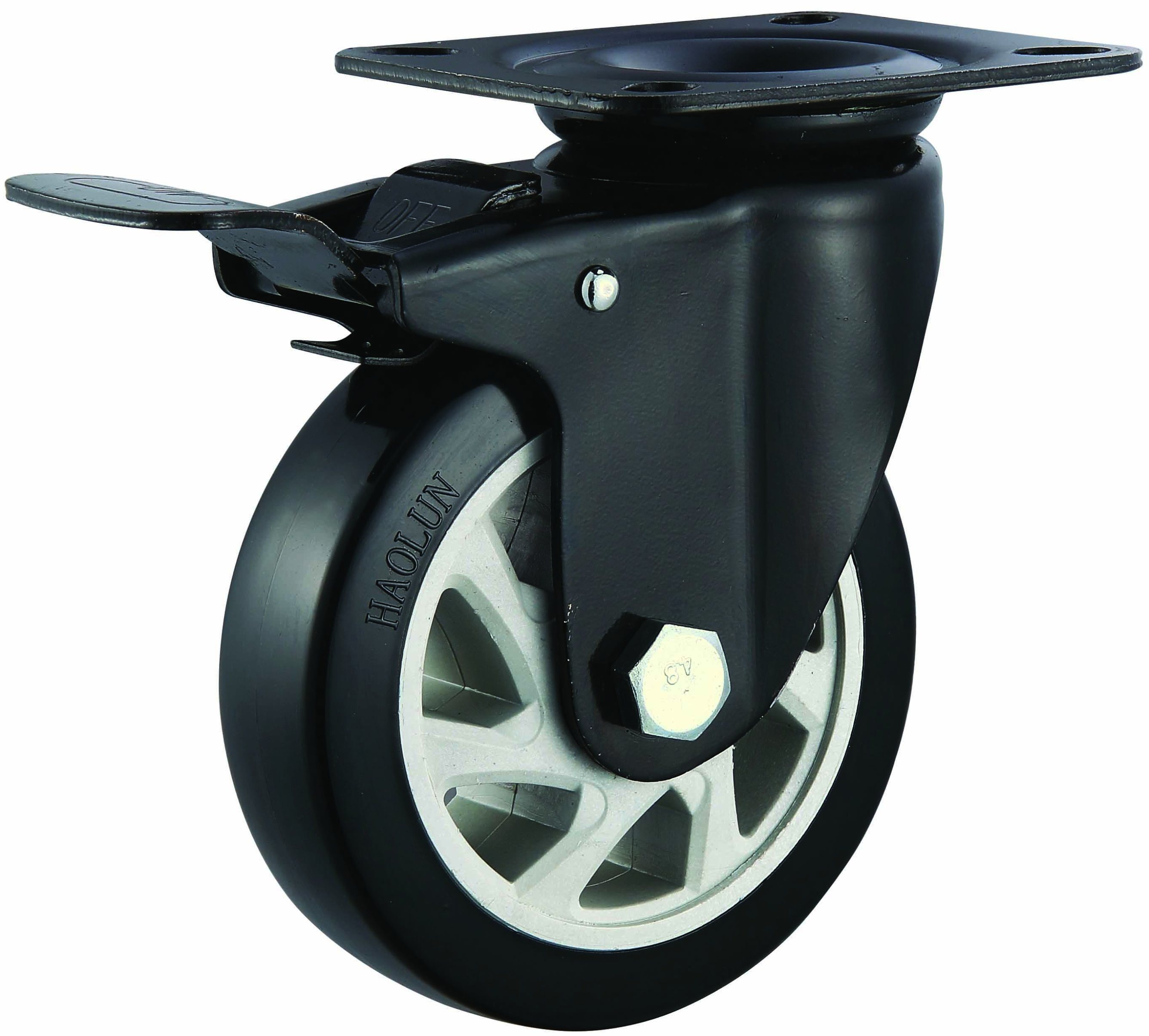 "4′′/5"" Medium Heavy PVC Caster Wheels for Hand Trolley Swivel/Fixed/Brake"