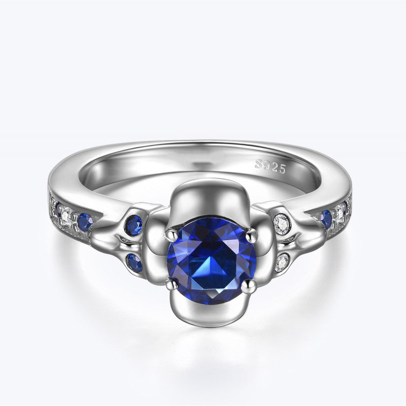 Fashion 925 Silver Ring with Blue Cubic Zircon