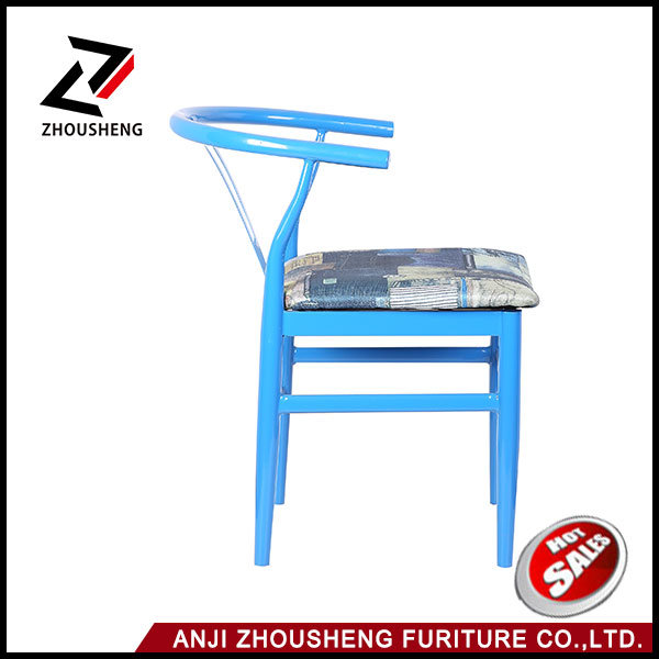 Hot Sale Archaistic Colorful V Back Metal Dining Chair with Soft Cushion