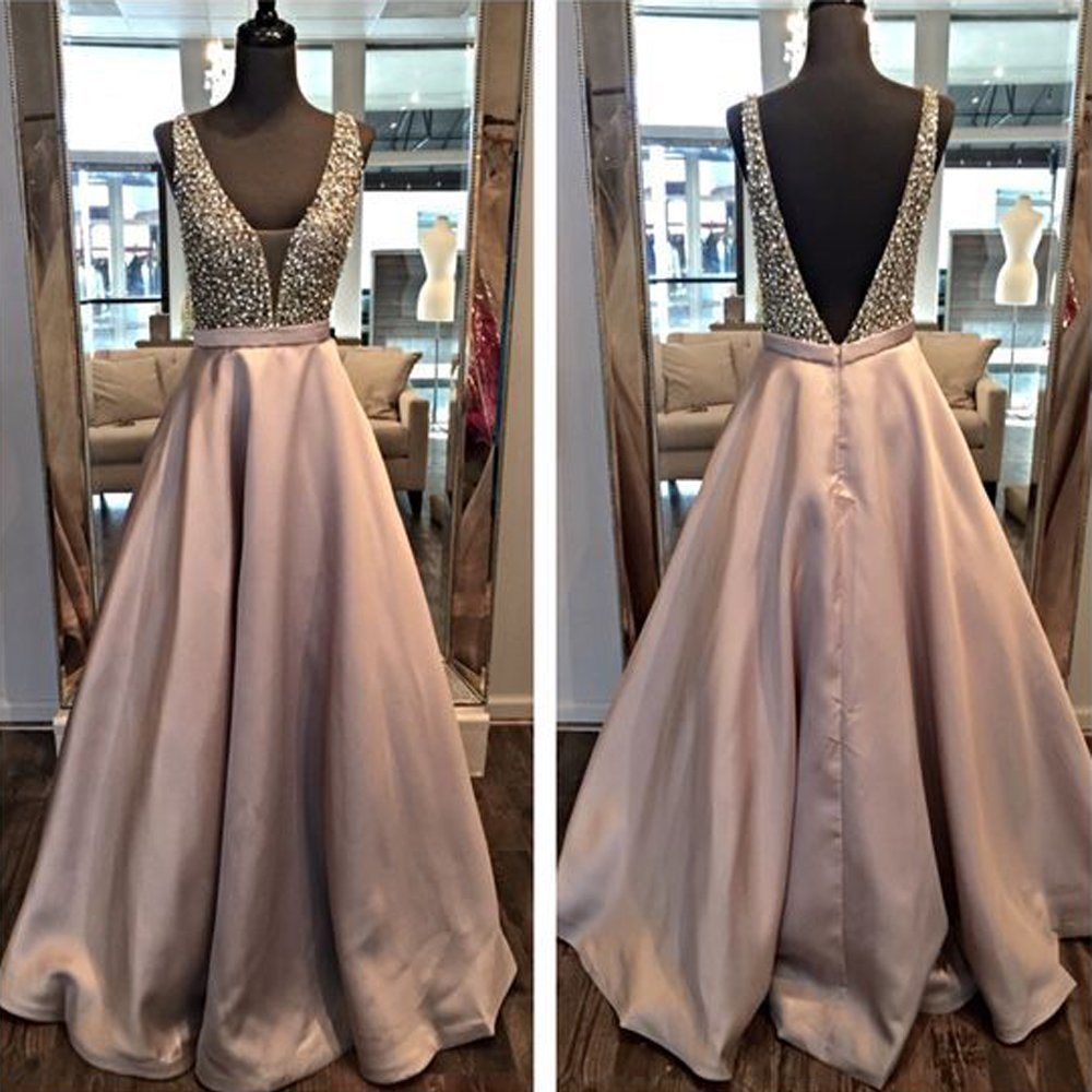 V-Neck Prom Party Gowns A-Line Evening Formal Dresses Z5024