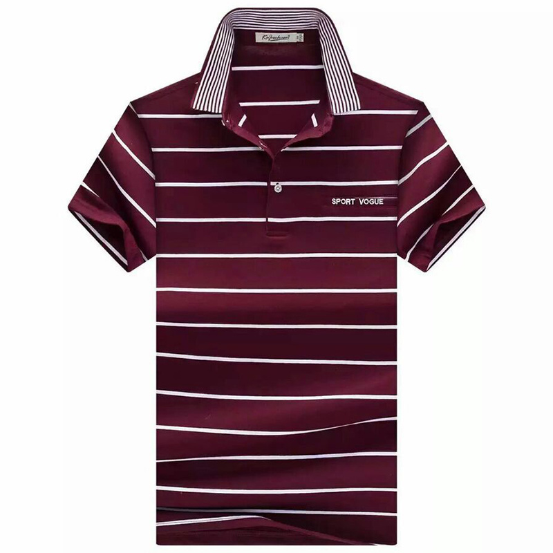 Men Fashion Polo Shirts Stripe Jersey Cotton Polo Shirts