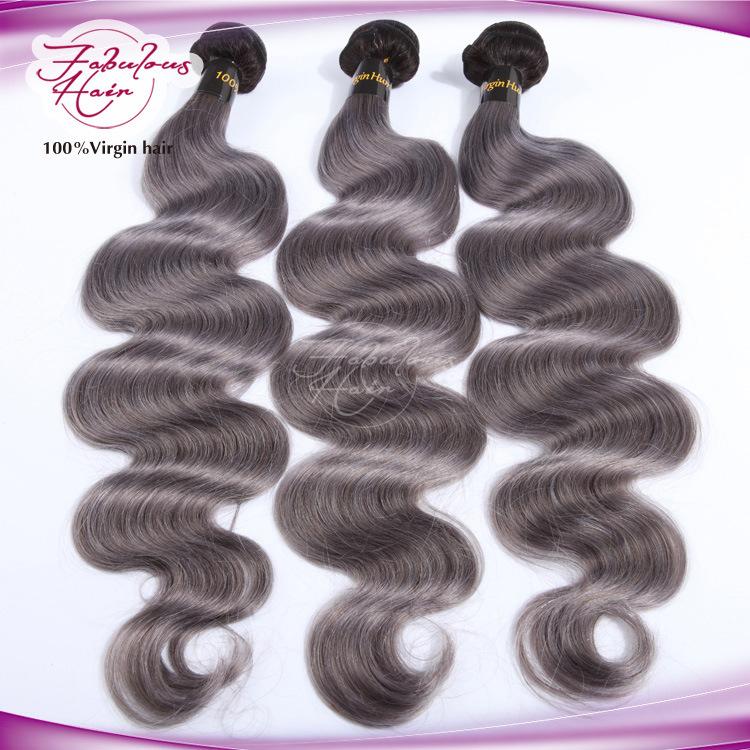 Ombre Color Natural Brazilian Color 1b/Grey Human Hair