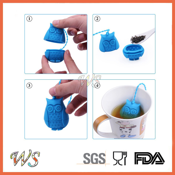 Ws-If057 Food Grade Silicone Mini Owl Tea Infuser Set Leaf Strainer for Mug Cup, Tea Pot