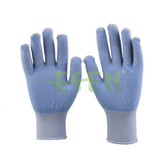 Dark Purple PVC Dotted Cotton Knitted Industrial Hand Safety Work Gloves