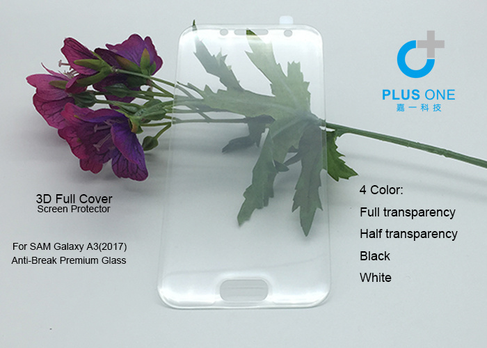 Toughened Glass Film for Galaxy A3 2017 Clear Full Cover 3D Curved Tempered Glass Screen Protector