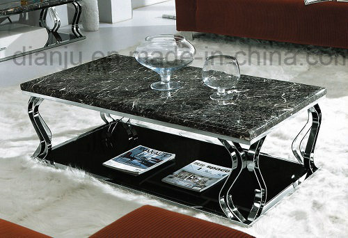 Stainless Steel Frame Marble Coffee Table for Living Room (CT081#)