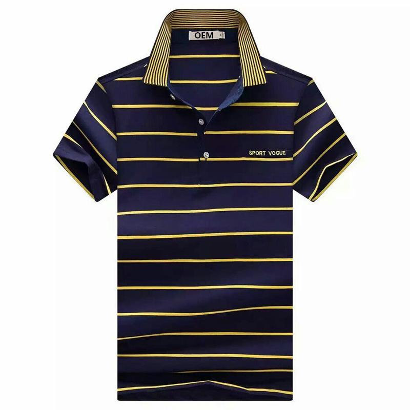 Men Fashion Polo Shirts Stripe Jersey Cotton Polo Shirts