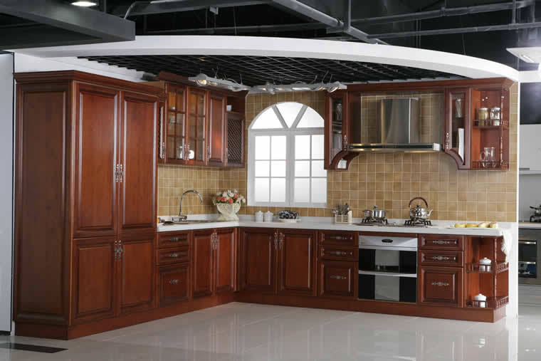 China solid wood cherry kitchen cabinets china mfc for Cherry wood kitchen cabinets