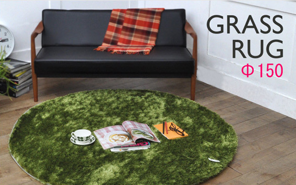 Bright Green Grass Rug/Tufted Mat /Carpet (150cm Diameter) , Oeko - Tex Standard 100 Certificated