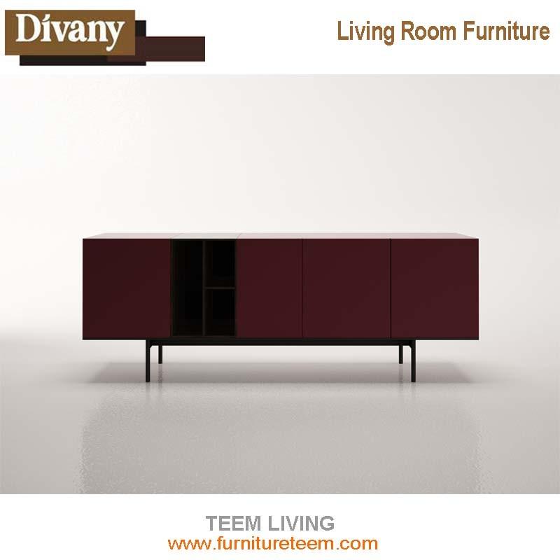Modern Simple TV Stand, Walnut Wood Veneer TV Cabinet
