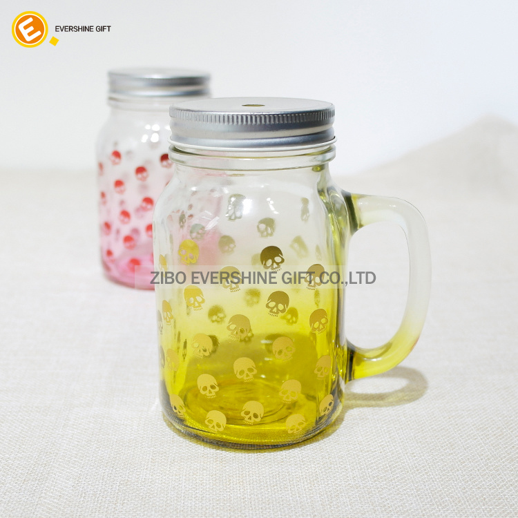 Skull Decal Glass Juice Bottle Storage Mason Glass Jar