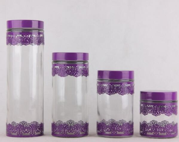 Iron Covered Glass Food Storage Jar