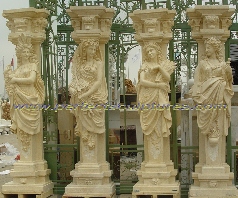 Decorative Roman Column with Stone Marble Sandstone Granite (QCM136)