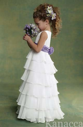 Purple Flower on Wedding Flower Girl Dress  Kt4001    China Flower Girl Dress Wedding